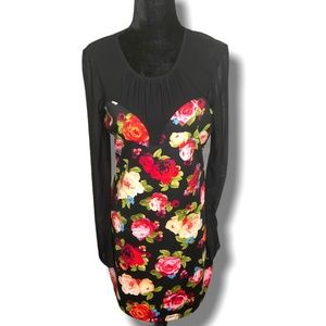 GUESS Floral Mini with Black Sheer Bodice & Sleeve